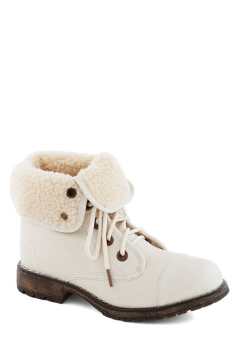 Logging Miles Boot in Ivory - Low, Faux Leather, Faux Fur, White, Solid, Casual, Rustic, Winter, Lace Up, Variation