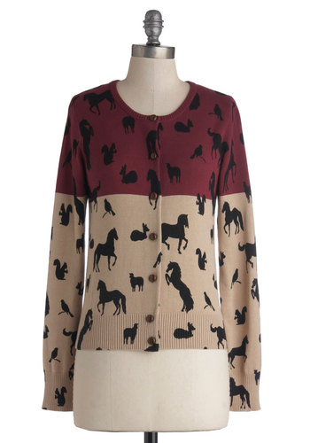 Megan's Creatures of Comfort Cardigan by Knitted Dove - Cotton, Knit, Mid-length, Buttons, Casual, Critters, Better, Crew, Multi, Long Sleeve, Red, Tan / Cream, Black, Print with Animals, Long Sleeve