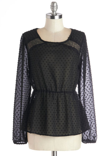 Prosecco to None Top - Chiffon, Sheer, Woven, Mid-length, Black, Solid, Cutout, Film Noir, Long Sleeve, Scoop, Holiday Party, Black, Long Sleeve