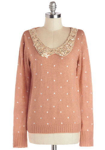 Sweetly Speckled Sweater - Pink, White, Polka Dots, Peter Pan Collar, Sequins, Work, Long Sleeve, Collared, International Designer, Knit, Mid-length, Gold, Pink, Long Sleeve