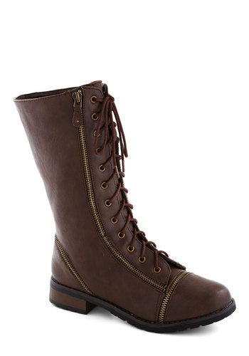 Zip Right Up Boot in Brown - Low, Faux Leather, Brown, Solid, Exposed zipper, Good, Lace Up