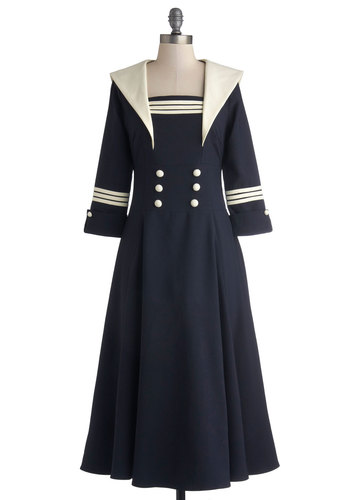Seven Seas Dress - Blue, Buttons, Casual, Nautical, A-line, Better, Collared, Woven, Long, Tan / Cream