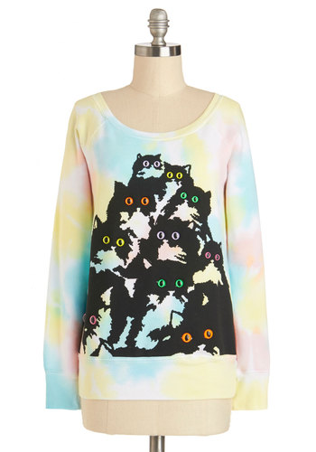 Glow Figure Sweatshirt - Knit, Mid-length, Print with Animals, Casual, 80s, Cats, Best, Scoop, Multi, Long Sleeve, Multi, Tie Dye, Vintage Inspired, Quirky, Long Sleeve