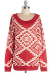All's Fairbanks Sweater - Casual, International Designer, Knit, Mid-length, Rustic, Better, Scoop, Red, Long Sleeve, Red, Tan / Cream, Print, Long Sleeve