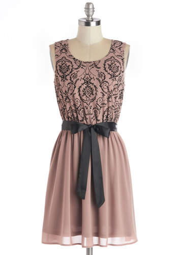 Treats of the Season Dress in Rose Mocha - Woven, Mid-length, Pink, Black, Print, Belted, Sleeveless, Variation, Scoop