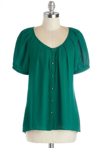 Inspiring Poetry Top in Jade - Mid-length, Chiffon, Sheer, Woven, Green, Solid, Buttons, Button Down, Short Sleeves, Variation, Scoop, Green, Short Sleeve