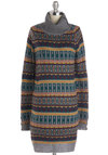 Cabin Cuddly Dress - Knit, Short, Multi, Print, Casual, Sweater Dress, Long Sleeve, Better, Patch, Winter