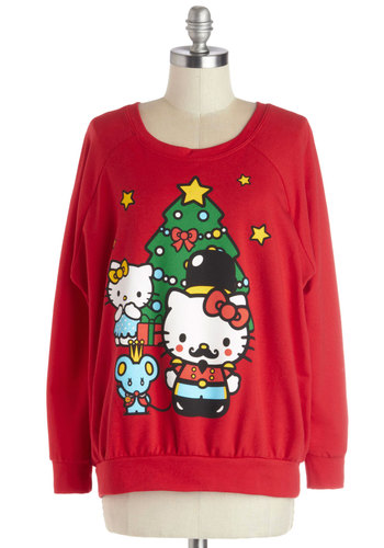 Hello Holidays Sweatshirt - Cotton, Knit, Mid-length, Print with Animals, Holiday, Cats, Sweatshirt, Better, Scoop, Red, Long Sleeve, Red, Multi, Kawaii, Long Sleeve