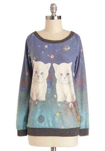 Cats-tronomical Sweatshirt - Knit, Mid-length, Print with Animals, Casual, Cats, Cosmic, Sweatshirt, Good, Scoop, Multi, Long Sleeve, Multi, Quirky, Long Sleeve