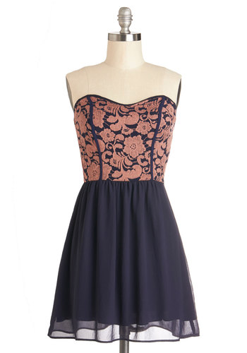 Glowing Places Dress in Navy - Blue, Floral, Party, A-line, Strapless, Good, Woven, Coral, Sweetheart, Mid-length
