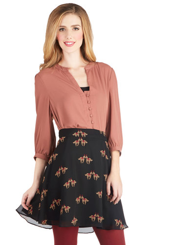 Giddy Up and At 'Em Skirt by Sugarhill Boutique - Short, Woven, Black, Print with Animals, Casual, A-line, Black