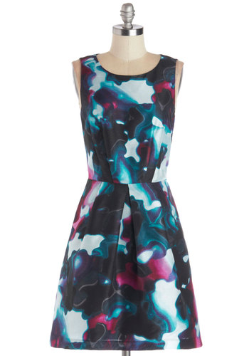 Flow and  Behold Dress by Kensie - Blue, Multi, Print, Party, A-line, Sleeveless, Better, Woven, Mid-length, Scoop