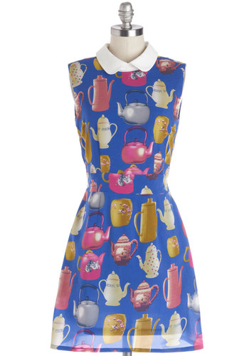 Brew Up Some Style Dress - Blue, Red, Green, Novelty Print, Peter Pan Collar, Casual, Quirky, A-line, Sleeveless, Better, Collared, Knit, Short, Multi, Pockets