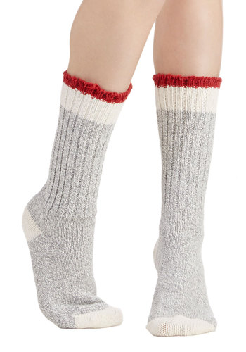 Crafting Time Socks - Knit, Grey, Red, Tan / Cream, Solid, Trim, Casual, Fall, Winter, Good, Eco-Friendly