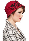 Classically Trained Hat - Red, Black, Solid, Flower, Better, Vintage Inspired, 20s