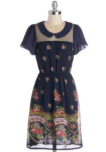 Miss Charismatic Dress - Blue, Floral, Casual, A-line, Short Sleeves, Better, Collared, Sheer, Woven, Mid-length, Multi, Peter Pan Collar