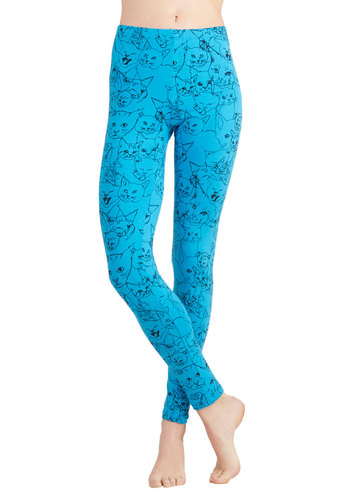 Queen of the Wildcats Leggings by Nooworks - Cotton, Knit, Blue, Print with Animals, Casual, Quirky, Cats, Skinny, Blue