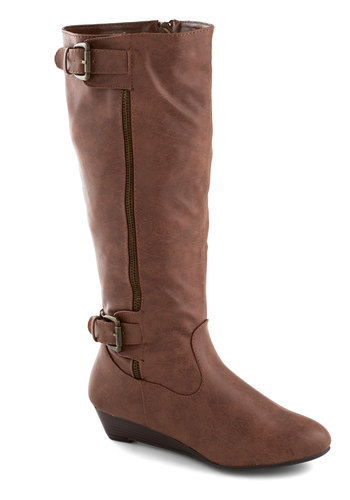 Gallivanting Galore Boot - Tan, Solid, Buckles, Exposed zipper, Steampunk, Low, Faux Leather, Wedge, Good, Fall
