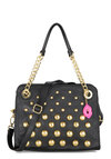 Betsey Johnson Bauble Your Luck Bag by Betsey Johnson - Black, Gold, Solid, Chain, Studs, Faux Leather