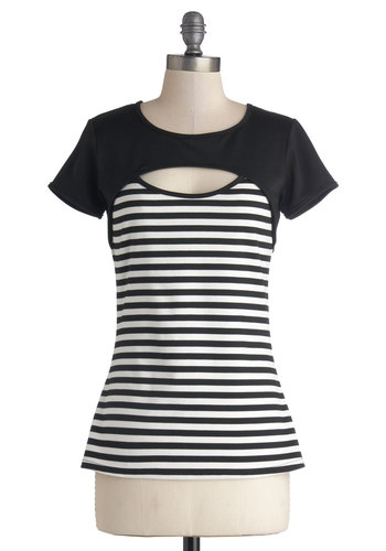 You're Assured Top - Knit, Mid-length, Stripes, Cutout, Casual, Mod, Better, Crew, Black, Short Sleeve, Black, Short Sleeves