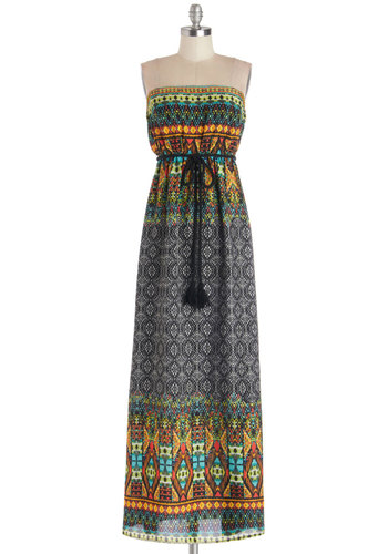 The Beach Generation Dress - Red, Orange, Green, Blue, Print, Belted, Casual, Maxi, Strapless, Good, Long, Woven, Multi, Black, Boho, Beach/Resort, Festival
