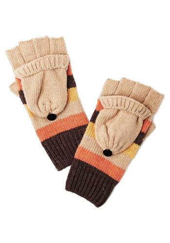 Hearth to Heart Fingerless Gloves - Tan, Orange, Yellow, Stripes, Buttons, Fall, Winter, Good, Knit, Casual