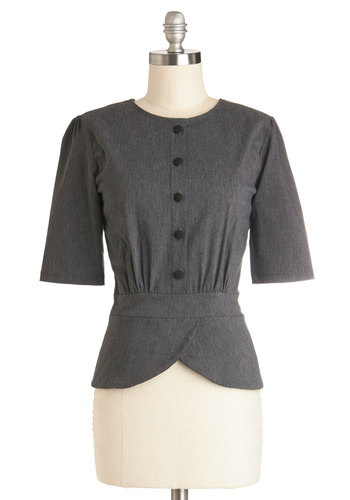 Slate in the Day Top - Grey, Solid, Buttons, Pinup, 3/4 Sleeve, Better, Woven, Short, Work, Vintage Inspired, 40s, 50s, Grey, 3/4 Sleeve