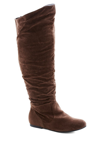 Walk It to Me Boot in Brown - Wide Calf - Flat, Faux Leather, Brown, Solid, Good, Fall, Variation