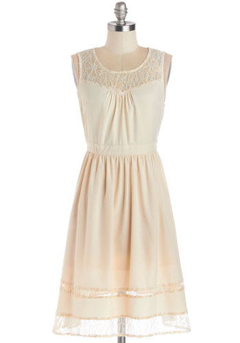Vanilla Cupcake Dress - Tan / Cream, Lace, Daytime Party, A-line, Sleeveless, Better, Scoop, Chiffon, Sheer, Woven, Mid-length
