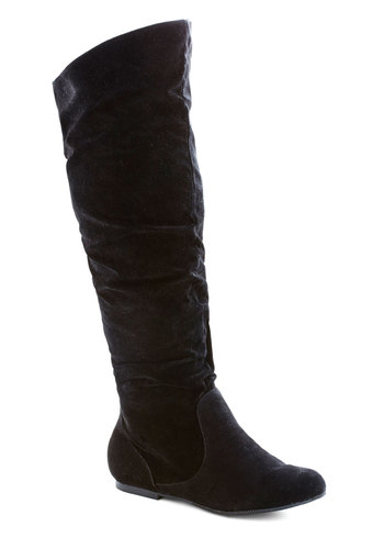 Walk It to Me Boot in Black - Wide Calf - Flat, Faux Leather, Black, Solid, Good, Fall, Variation
