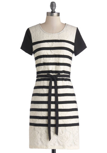 Stripes, Camera, Action! Dress - Black, White, Stripes, Lace, Casual, Shift, Short Sleeves, Better, Scoop, Chiffon, Knit, Woven, Mid-length, Belted, Work, Lace