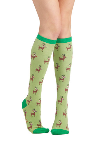 Reindeer Games Socks - Green, Multi, Print with Animals, Casual, Good, Knit, Holiday