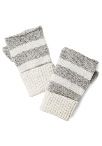 Sparkle in the Air Glovettes - Grey, Stripes, Casual, Fall, Winter, Variation, Knit, White