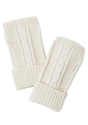 Cream and Sugary Glovettes - Cream, Solid, Casual, Fall, Winter, Variation, Knit, Knitted