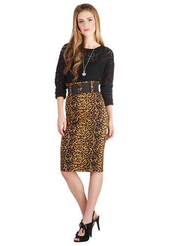 Cool Vibes Skirt in Leopard - Long, Cotton, Woven, Animal Print, Belted, Party, Cocktail, Pencil, Variation, Urban, Better, Brown, Brown, High Waist