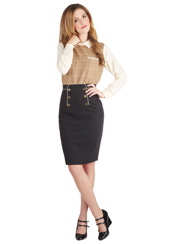 Panel of Poets Skirt by Myrtlewood - Solid, Buttons, Work, Military, Pencil, Black, Trim, Exclusives, Private Label, Scholastic/Collegiate, Better, Black, Mid-length, Woven, Winter