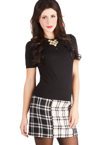 Admiring Artifacts Skirt - Plaid, Better, Short, Woven, Mod, Mini, Work, Casual, Vintage Inspired, 60s, 90s, Scholastic/Collegiate, Winter, Black, White, Black, White