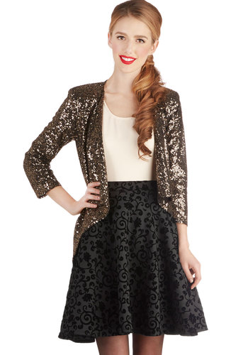 Stage Show Supporter Skirt - Black, Floral, Holiday Party, Better, Exposed zipper, Knit, Black, Winter, Full, Mid-length