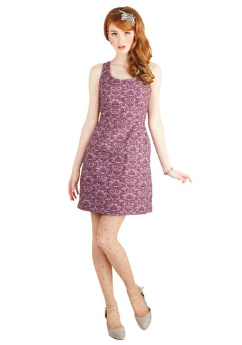 Anticipated Invite Dress by Jack by BB Dakota - Purple, Print, Cutout, Pockets, Party, Sheath / Shift, Tank top (2 thick straps), Better, Scoop, Mid-length, Cotton, Woven, Graduation