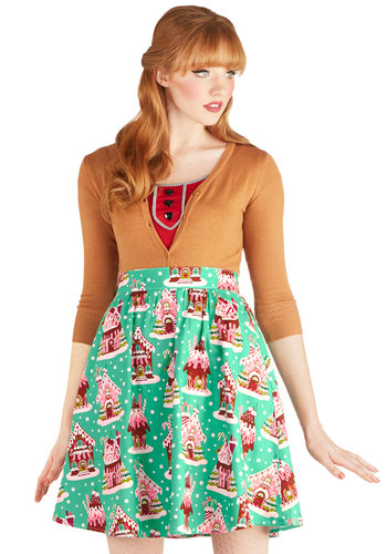 Gingerbread Home Sweet Home Skirt - Green, Holiday, A-line, Better, Novelty Print, Winter, Mid-length, Cotton, Woven, Holiday Party, Green