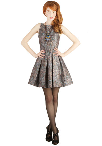 Classic Stunner Dress in Paisley by BB Dakota - Multi, Pleats, Cocktail, Fit & Flare, Sleeveless, Exclusives, Variation, Boat, Paisley, Better, Holiday Party, Woven, Mid-length