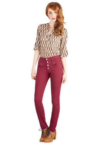 Karaoke Songstress Jeans in Crimson - Cotton, Woven, Red, Solid, Pockets, Casual, Skinny, Good, Variation, Buttons, Rockabilly, Pinup, Vintage Inspired, 90s, High Waist, Best Seller, High Rise, Ankle, Red, Colored, Denim, Fall, Winter, Denim, Exclusives