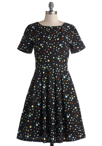 Staple of Your Style Dress by Bea & Dot - Private Label, Mid-length, Cotton, Woven, Polka Dots, Pleats, Casual, A-line, Short Sleeves, Better, Black, Multi, Pockets, Exclusives