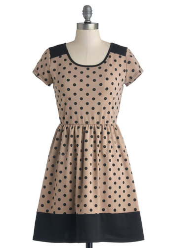 Coffee and Ice Cream Dress - Tan, Polka Dots, Casual, A-line, Short Sleeves, Good, Scoop, Short, Knit, Black