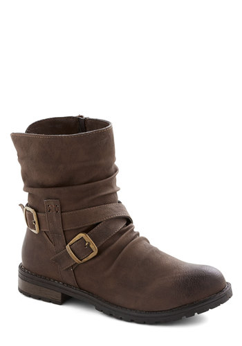 Effortlessly Earthy Boot - Brown, Buckles, Steampunk, Faux Leather, Low