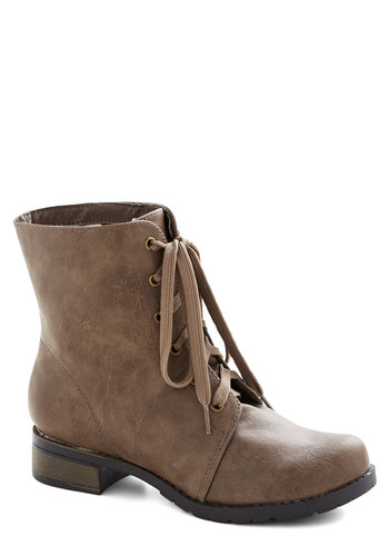 First Friday Night Boot - Low, Faux Leather, Tan, Solid, Good, Lace Up, Casual