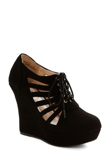 Transcend Me on My Way Wedge - High, Faux Leather, Black, Solid, Cutout, Party, Girls Night Out, Good, Wedge, Lace Up, Statement, Platform