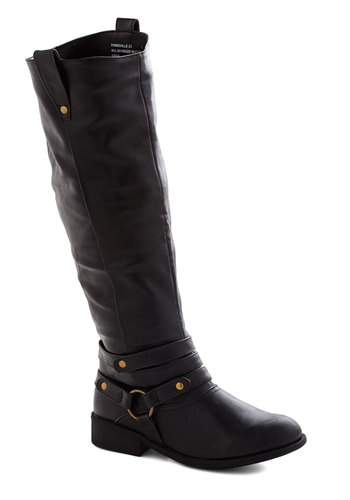 Harness Your Style Boot - Black, Low, Faux Leather, Solid, Good