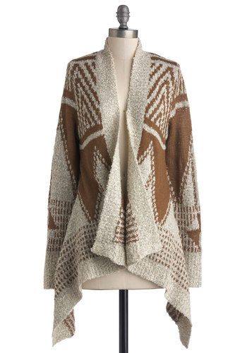 Cafe Mocha Cardigan - Mid-length, Knit, Print, Casual, Rustic, Better, Brown, Long Sleeve, Brown, Tan / Cream, Long Sleeve