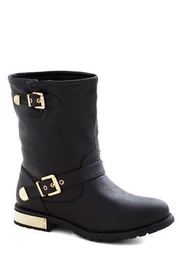 Snazzy Gal Boot - Black, Gold, Buckles, Luxe, Faux Leather, Low